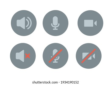 Speaker, Mic and Video Camera icon set. Simple flat style for Video Conference, Webinar and Video chat. Microphone, audio, sound, mute, off concept. Vector illustration isolated. EPS 10.