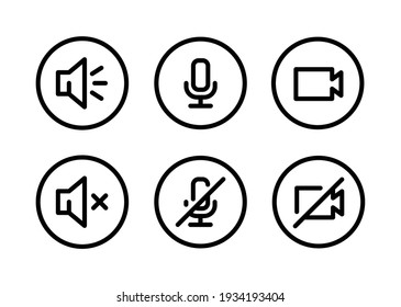 Speaker, Mic and Video Camera line icon set. Simple outline style for Video Conference, Webinar and Video chat. Microphone, audio, sound, mute, off concept. Vector illustration isolated. EPS 10.