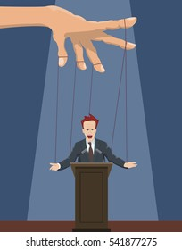 The speaker as a puppet on the ropes.Vector illustration.