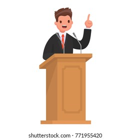 Speaker at the rostrum. The politician gives a speech at the tribune. Vector illustration in style