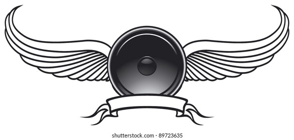 speaker shield with wings and banner