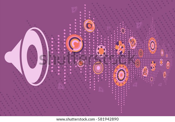 Speaker with sound graphic and music disc as various circle design.