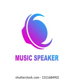 Speaker sound logo.  Sound speaker and musical logo template. Woofer vector design. Subwoofer illustration. EPS 10