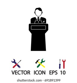 Speaker stands behind the podium, vector best flat icon, EPS