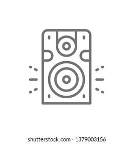 Speaker, subwoofer, audio equipment line icon.
