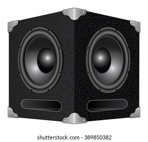 Speaker or Subwoofer is an illustration of a detailed woofer or subwoofer speaker box with two speakers.