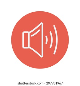 Speaker volume thin line icon for web and mobile minimalistic flat design. Vector white icon inside the red circle.