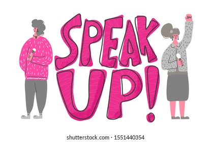 Speakers characters. speak up quote. Two young various women standing with microphone. Orator speaking. Girls with mike in full length. Vector flat color illustartion.