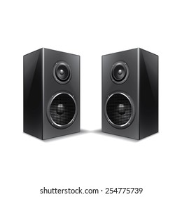 Speakers isolated on white photo-realistic vector illustration