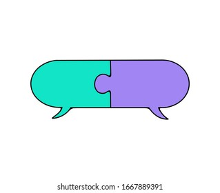 speaking bubble jigsaw puzzle vector illustration