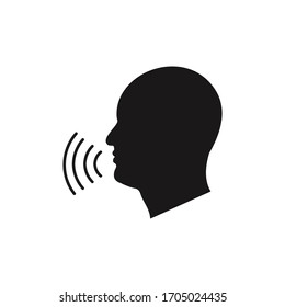Speaking icon vector. Talk person sign or symbol , man with open mouth and sound wave , Voice command, Voice recognition, speech icon for interact, interview, talk controls, isolated on white