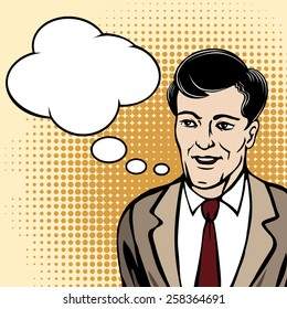 Speaking man in suit with speech bubble drawn in retro half tone style