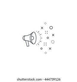 Speaking megaphone concept, public relation, advertising and promotion, event announcement