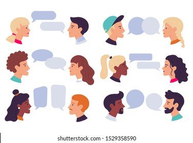 Speaking people. Couple conversation, dialogue bubbles and chat avatars profile portraits talk together. Social community, dictionary talking or speech chatting. Isolated vector illustration icons set