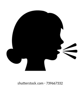 Speaking woman silhouette vector illustration