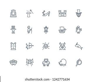 Spear, Chimera, Dwarf, Cthulhu, Cerberus, Leprechaun, Viking ship, female Medusa, Armor, Curupira, Cinderella shoe outline vector icons from 20 set