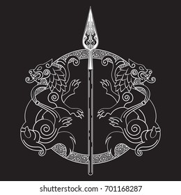 The Spear Of The God Odin - Gungnir. Two wolves and Scandinavian pattern, isolated on black, vector illustration