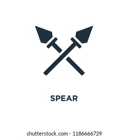 Spear icon. Black filled vector illustration. Spear symbol on white background. Can be used in web and mobile.