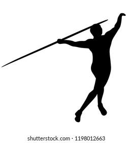 Spear throwing, Silhouette on a White Background