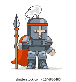 Spear warrior guardian fantasy knight medieval action RPG game character isolated icon vector illustration