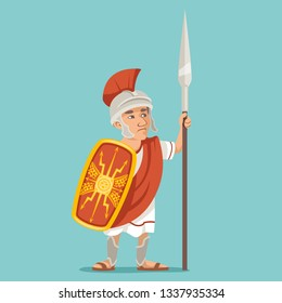 Spearman legionnaire warrior soldier spear shield greek roman retro vintage character icon cartoon design vector illustration