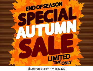 Special Autumn Sale, end of season, poster design template, maple leaves, vector illustration