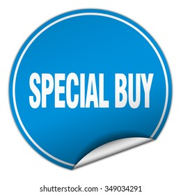 special buy round blue sticker isolated on white