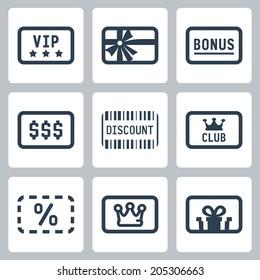 Special cards icons set: VIP, gift, bonus, discount, club card