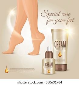 Special care for your feet female legs spa cream conceptual composition for advertisement with editable text vector illustration