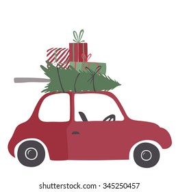 Special christmas delivery vector Illustration. Small red car with gifts and christmas tree on the top.