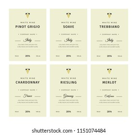 Special collection best quality grape varieties and premium wine brand names labels emblems abstract isolated vector illustration. White wine label set