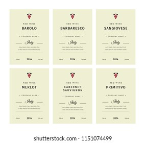 Special collection best quality grape varieties and premium wine brand names labels emblems abstract isolated vector illustration. Italy red wine label set