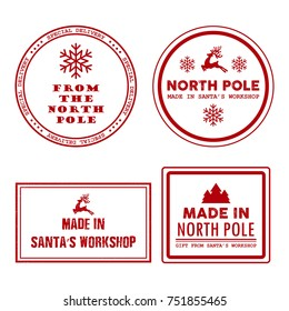 Special delivery from the North Pole, made in Santa's workshop Christmas vintage rubber stamps, labels, badges set.