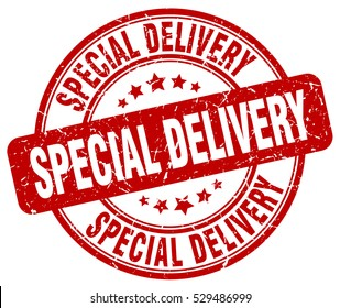 special delivery. stamp. red round grunge vintage special delivery sign