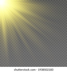 Special design of sunlight or light effect. Sun or spotlight beams. Bright flashю. Light PNG. Decor element. Vector illustration for decorating. Isolated transparent background.