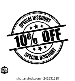 Special discount 10% off black grunge rubber stamp on white background, vector illustration