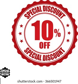 Special discount 10% off stamp.Vector.