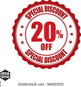 Special discount 20% off stamp.Vector.