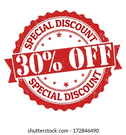 Special discount 30% off grunge rubber stamp on white, vector illustration