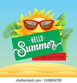 Special discount, hello summer, sale poster design with cartoon smiling sun in sunglasses, tropical leaves and sand dunes. Text can be used for signs, flyers, banners