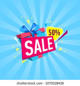 Special discount price banner with gift box on striped blue background. Retail marketing promotion, mall commercial campaign, weekend and holiday shopping, season offer poster vector illustration.