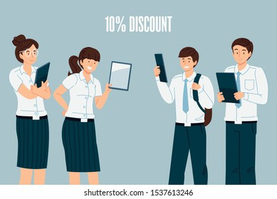 Special discount promotion . Thailand college students wearing standard uniforms trading tablets.