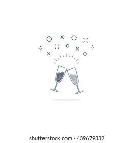 Special event celebration party. Champagne glasses. Cocktail alcohol drinks. Reception arrangements