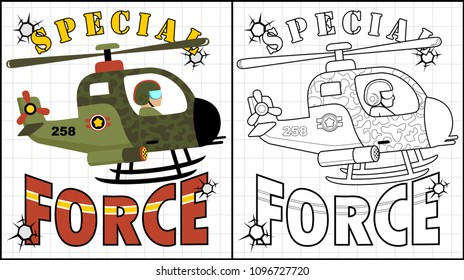 Special force, military helicopter, coloring page or book, vector cartoon illustration