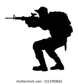 Special force soldier with weapon silhouette vector