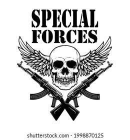 Special forces. Crossed assault rifles ak-47 with winged soldier skull. Design element for logo, label, sign, emblem. Vector illustration