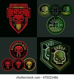 Special Forces Military Patch Set. Skull Badge Template