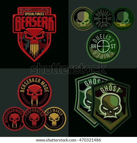 special forces military patch set skull stock vector royalty free
