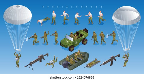 Special Forces of Modern Army off road vehicle military boat Soldiers Paratroopers Set isometric icons on isolated background