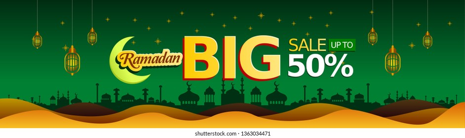 Special Green Background Ramadan Sale, web header or banner design with crescent moon and flat 50% off offers on mosque pattern background. - Vector